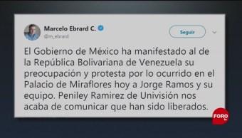 Foto: SRE Retención Jorge Ramos Venezuela Ebrard 25 de Febrero 2019