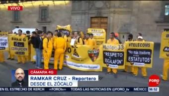 Trabajadores sindicalizados de Pemex protestan en la CDMX