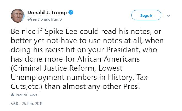 Imagen: Tuit de Donald Trump sobre el cineasta Spike Lee, 25 de febrero de 2019, Estados Unidos