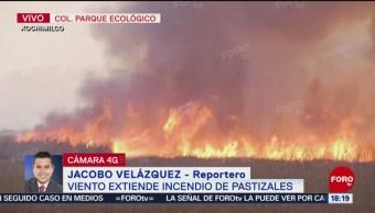 Foto: Vientos extiende incendio en pastizales de Xochimilco
