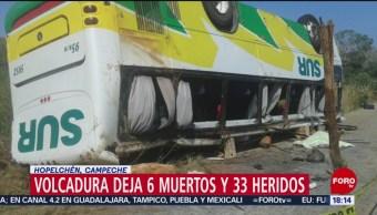 Foto: Volcadura de autobús deja seis muertos en Campeche