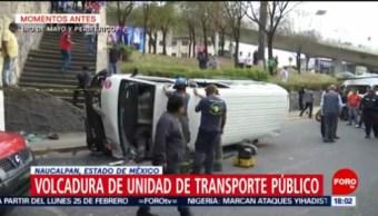 FOTO: Volcadura de unidad de transporte público en Edomex, 23 febrero 2019
