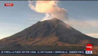 Volcán Popocatépetl registra fumarola este sábado