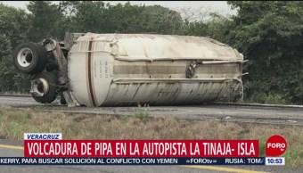 FOTO: Vuelca pipa con gasolina en la autopista de Veracruz, 3 febrero 2019
