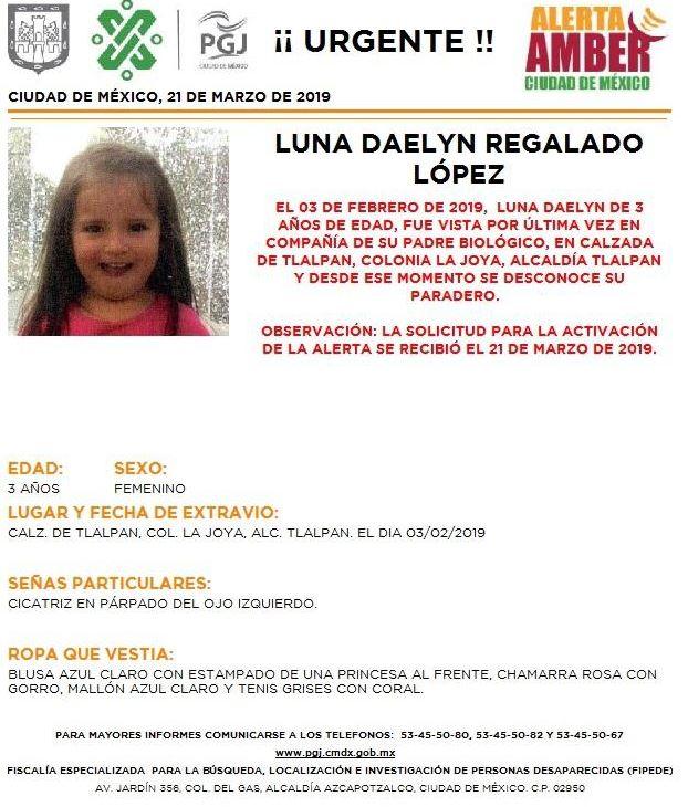 fOTO:Activan Alerta Amber para localizar a Luna Daelyn Regalado López en CDMX, 21 MARZO 2019