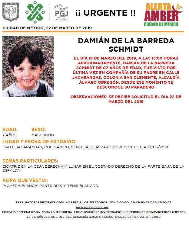 Foto Alerta Amber para ayudar a localizar a Damián de la Barreda Schmidt 22 marzo 2019