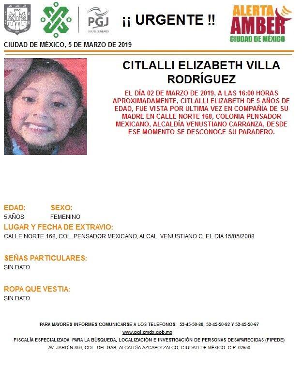 Alerta Amber para localizar a Citlalli Elizabeth Villa Rodríguez.