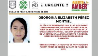 Foto: Alerta Amber para localizar a Georgina Elizabeth Pérez Montie 18 marzo 2019