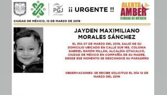 Foto: Alerta Amber para localizar a Jayden Maximiliano Morales Sánchez 13 marzo 2019