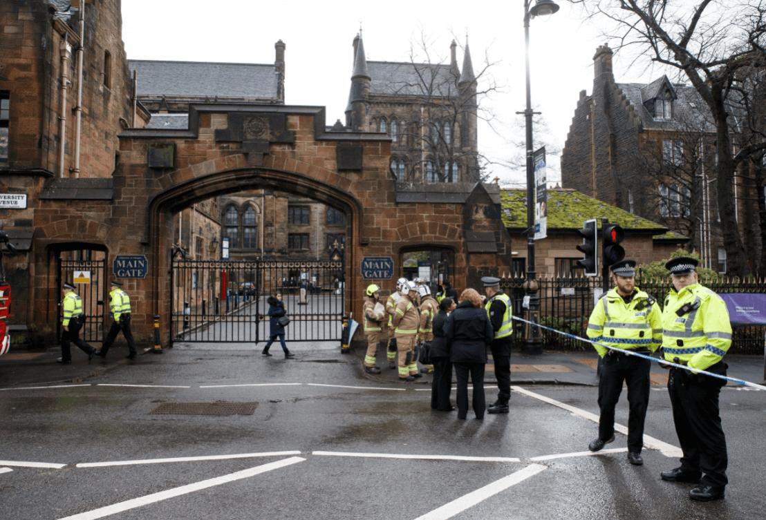 Foto: Alerta en Universidad de Glasgow por paquetes sospechosos, 6 de marzo de 2019, Escocia