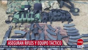 FOTO: Aseguran rifles y equipo táctico en La Barca, Jalisco, 17 marzo 2019