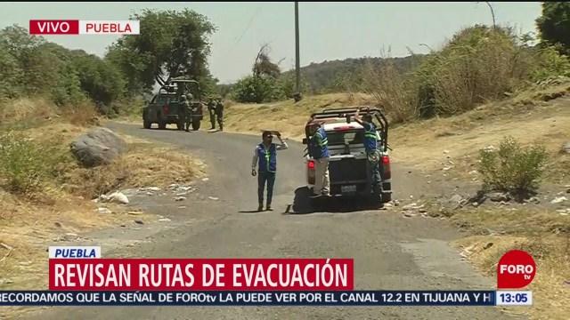 Foto: Autoridades revisan rutas de evacuación en poblados cercanos al Popocatépetl