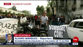 Foto: Bomberos bloquean Calzada de Tlalpan, CDMX