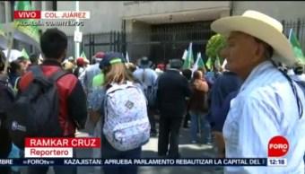 Campesinos protestan frente a la Secretaría de Gobernación, en CDMX