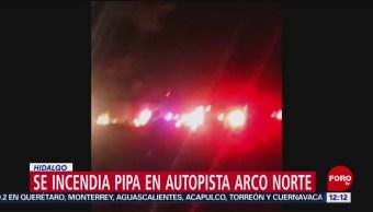 Choca pipa con diesel y se incendia en Arco Norte