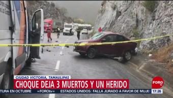 Foto: Choque deja 3 muertos y un herido en Ciudad Victoria, Tamaulipas