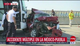 Foto: Choque múltiple en la México-Puebla deja 4 lesionados