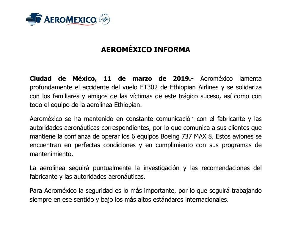Foto Comunicado de Aeroméxico sobre el uso de los vuelos 11 marzo 2019