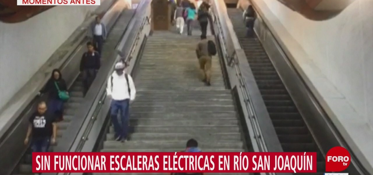 Continúan sin funcionar escaleras en línea 7 del Metro
