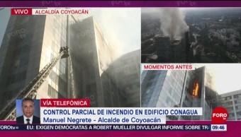 FOTO:Control parcial de incendio en edificio de Conagua, 23 Marzo 2019