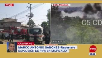 Controlan explosión de pipa de gas en Milpa Alta