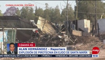 Foto: Controlan incendio por explosión de pirotecnia en Edomex