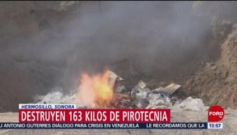Foto: Destruyen pirotecnia asegurada en Sonora