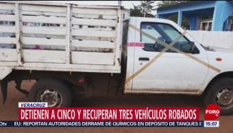 FOTO:Detienen a cinco y recuperan tres vehículos robados en Veracruz, 24 Marzo 2019
