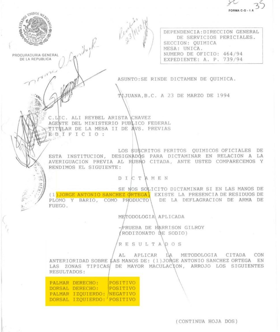 Dictamen de prueba de Rodozinato de Sodio de Jorge Antonio Sanchez Orgeta, Agente del CISEN (MCCI)