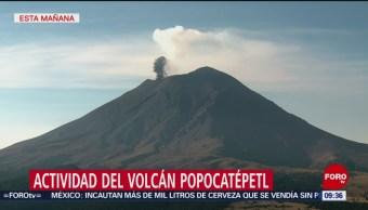 Foto: El Popocatépetl emite vapor de agua y gas