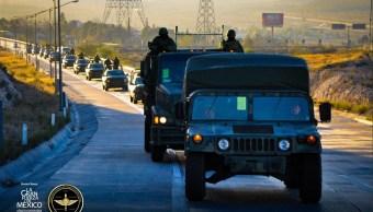 Foto: Elementos del Ejército llegan a Cuauhtémoc, Chihuahua, 19 de marzo 2019. Twitter @SEDENAmx