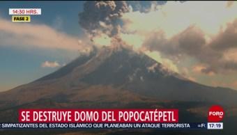 Foto: Erupción destruye domo del Popo