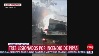 Foto: Estallan dos pipas de gas en Milpa Alta; hay tres heridos