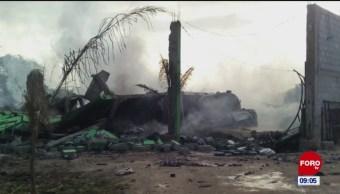 Explosión e inmueble donde se almacenaba combustible en Puebla