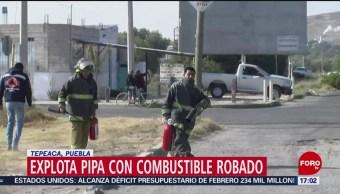 Foto: Explota pipa con combustible y provoca incendio en Puebla