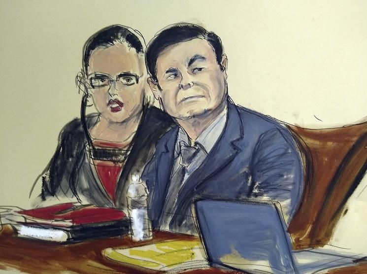 """Foto: Boceto del juicio de Joaquín """"El Chapo"""" Guzmán en una corte de Nueva York, EEUU. El 4 de febrero de 2019"""