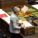 Foto: La primera ministra británica Theresa May habla en el Parlamento en Londres. El 25 de marzo de 2019