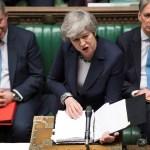 Foto: La primera ministra británica, Theresa May, habla en el Parlamento de Londres el 13 de marzo del 2019