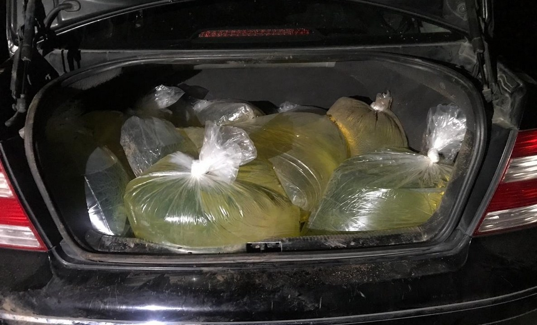 Foto: PF detiene a dos hombres que pretendían trasladar mil litros de combustible en bolsas de plástico. 26 de marzo 2019. Twitter @PoliciaFedMx