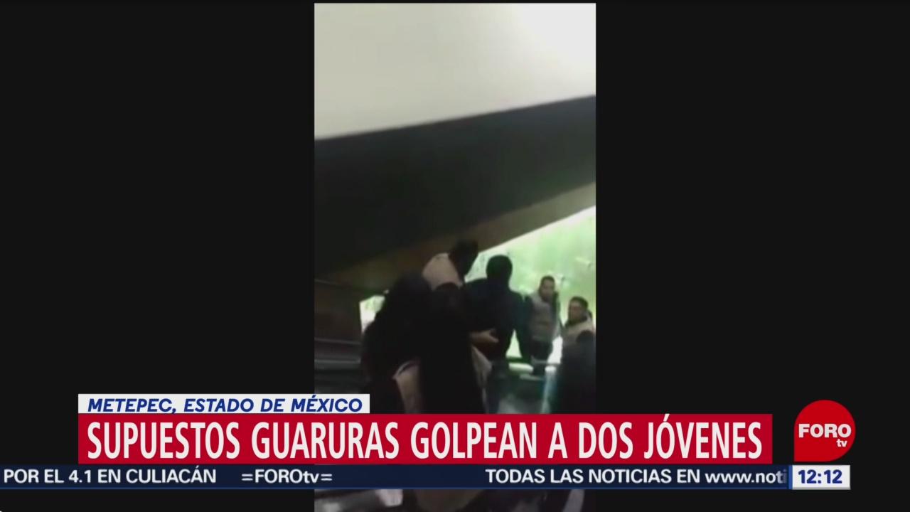 Foto: Guardaespaldas golpean a dos jóvenes en plaza comercial de Metepec