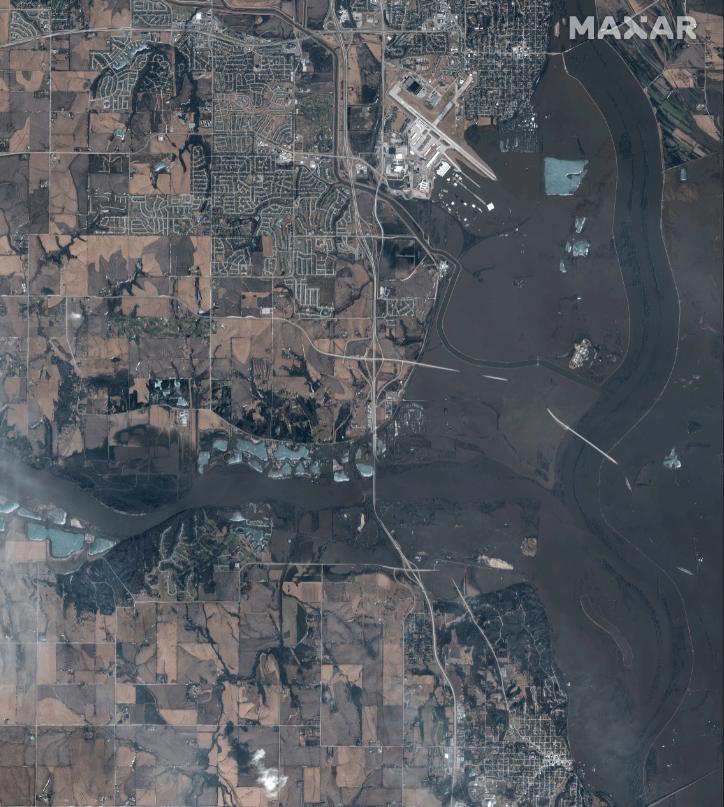 Foto: Imagen satelital de las inundaciones en Estados Unidos, 19 de marzo de 2019