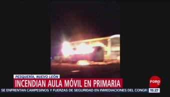 Foto: Incendian aula móvil de escuela primaria en NL