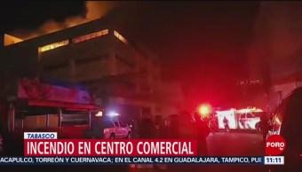 FOTO: Incendio en centro comercial en Tabasco, 2 marzo 2019