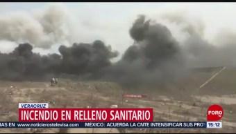 FOTO: Incendio en relleno sanitario en Veracruz, 31 Marzo 2019