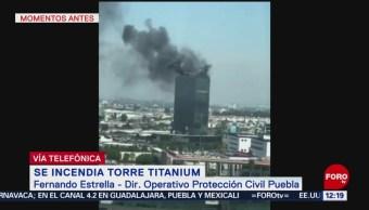 Incendio en Torre Titanium afecta zona de azotea