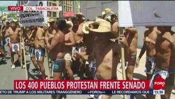 Foto: Integrantes de los 400 Pueblos protestan frente al Senado