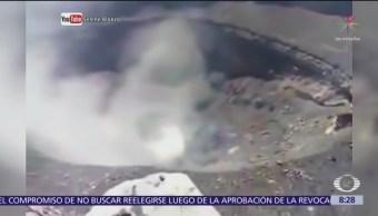 FOTO: Jóvenes suben al cráter del volcán Popocatépetl y graban video, 18 marzo 2019