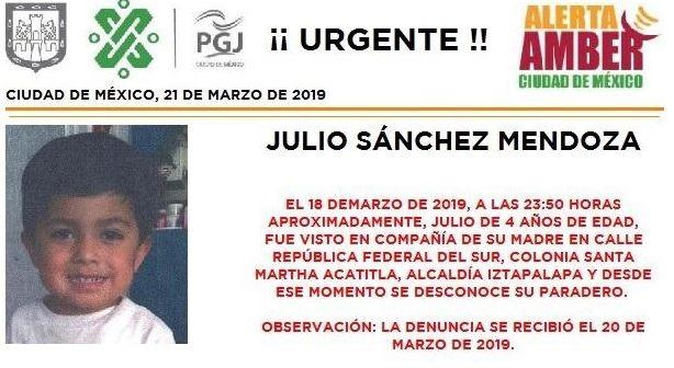 Foto: Activan Alerta Amber para localizar a Julio Sánchez Mendoza en CDMX, 21 marzo 2019