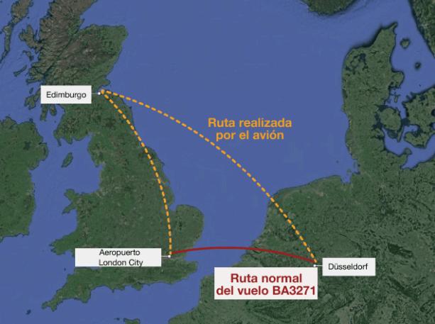 Foto: Mapa de ruta equivocada de vuelo de British Airways, 26 de marzo de 2019, Londres