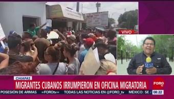 FOTO: Migrantes cubanos irrumpen en instalaciones del INM en Chiapas, 16 marzo 2019